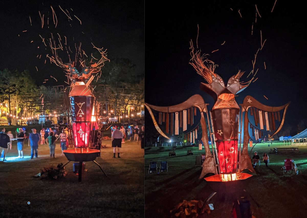 The FIrebirds metal fire sculptures