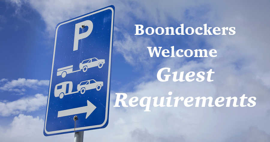Boondockers Welcome Guest Requirements